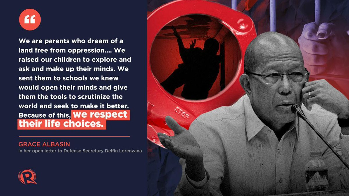 Veteran journalist Grace Albasin, the mother of arrested youth leader Myles Cantal Albasin in 2018, penned an open letter to Defense Secretary Delfin Lorenzana on red-tagging. Read her letter here #iSpeak rappler.com/voices/ispeak/…