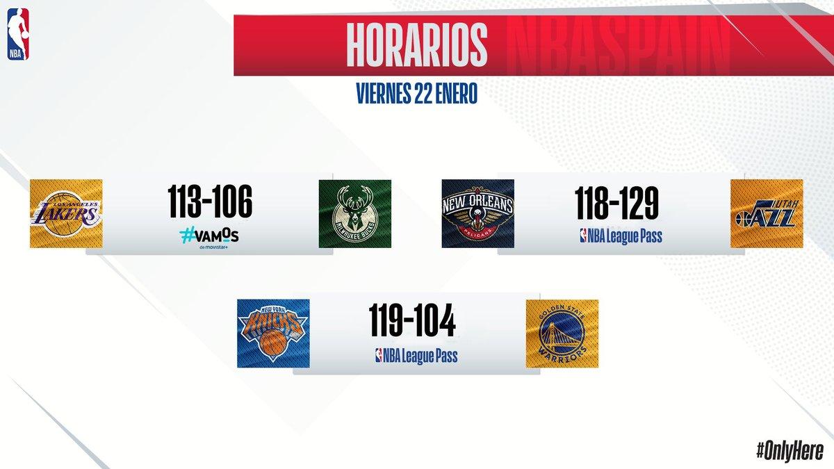 #NBA Estos son los resultados de los partidos de la jornada de jueves en la @NBA. Victorias para #LakeShow, #TakeNote y #NewYorkForever