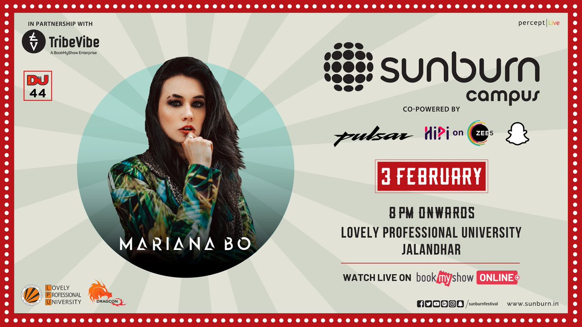 #SunburnCampus ft. @djmarianabo for @lpuuniversity invites you for an electrifying explosion of #Music and #EDM🔥  #EDMFestival #3February2021 #WednesdayMotivation #MidWeekPlan #FridayHighlights #WeekdayGood #Snapchat  (Cont..)