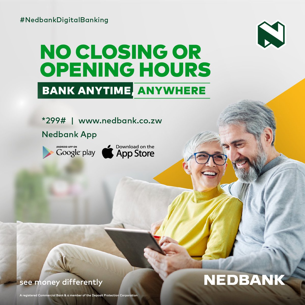 #BankFromHome through any of our digital platforms:  1. 📱 USSD code *299#  2.👩‍💻 Internet Banking  3. 📲 Mobile Banking App (Download on Google Play Store or App Store)  #Nedbank #DigitalBanking