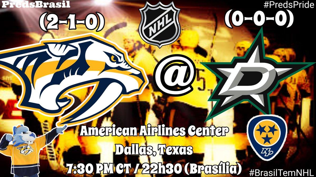 #GameDay @PredsNHL (2-1-0)  🆚 @DallasStars (0-0-0) 🏟 American Airlines Center, Dallas, TX ⏰ 7:30 PM CT / 22h30 (Brasília) 🏒 Forsberg 3P / Arvidsson 3P 🏒 - -  #Preds L10 (2-1-0) #GoStars L10 (0-0-0)  #DALvsNSH #Smashville #PredsPride #BrasilTemNHL