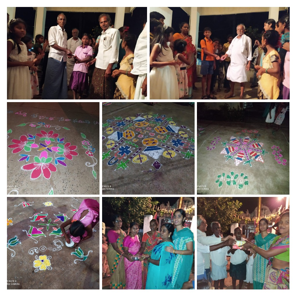 For #Sankranthi, we conducted #Rangoli competition for women and #Games for #children #Rudravaram village, Krishna Dt and distributed prizes to winners.  Love all - Serve all Team ASWA    #ammaaswa #rangolicompetition #Pongal2021