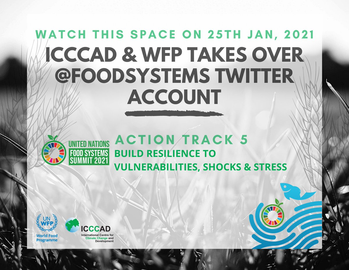 🔔To generate momentum on #foodsystems on 📆 25 Jan 2021 @ICCCAD & @WFP will be taking over @FoodSystems !  @ClubOfRome @SUNCSN  @SaleemulHuq #UNFSS2021#SDG2 #ZeroHunger