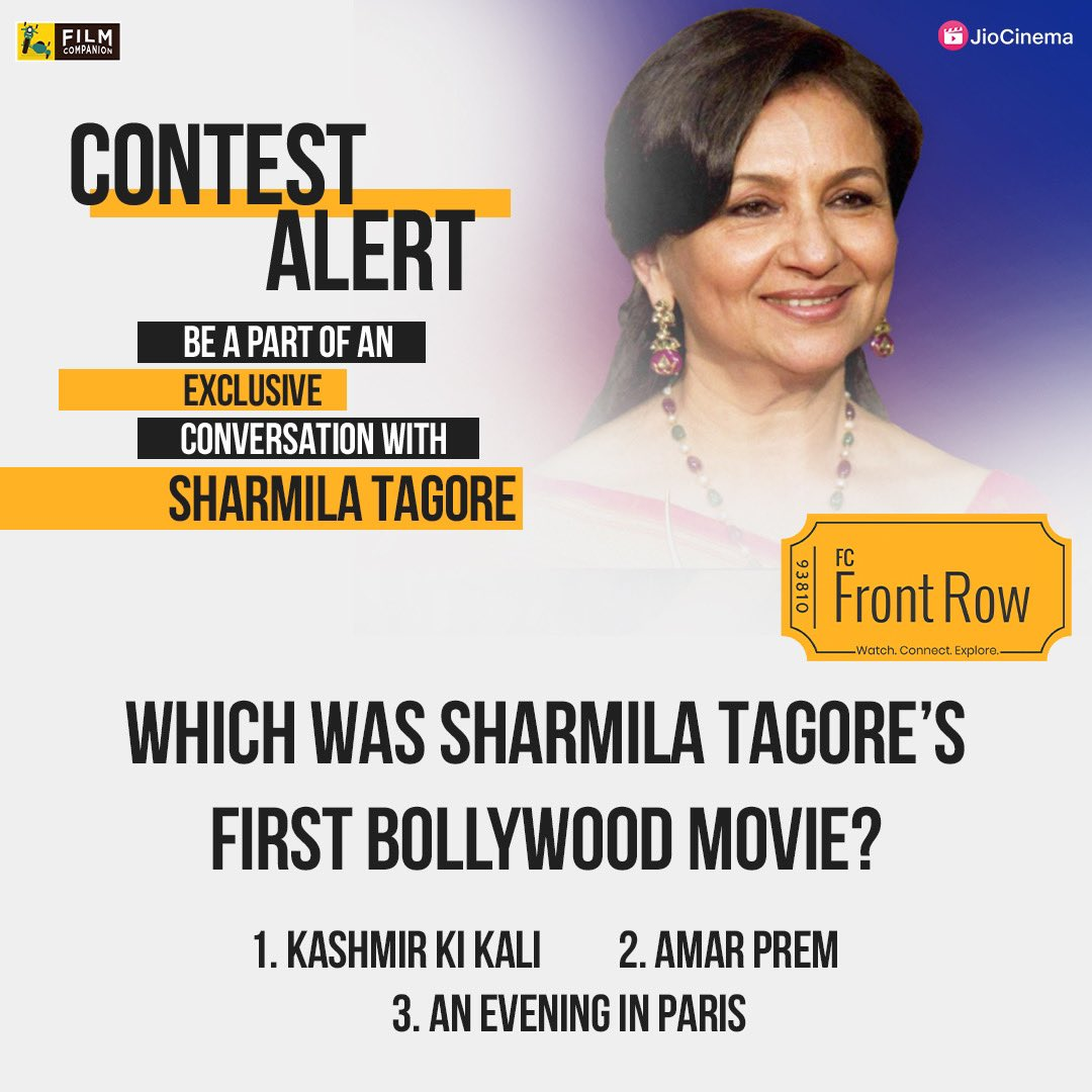 CONTEST ALERT 📣 Want to speak with #SharmilaTagore? Answer the question to win a chance to be a part of @filmcompanion's #FCFrontRow chat with #SharmilaTagore on the 23rd of Jan!  #filmcompanion #contest #contestalert #contestalertindia #contestgiveaway #contests #contestagram