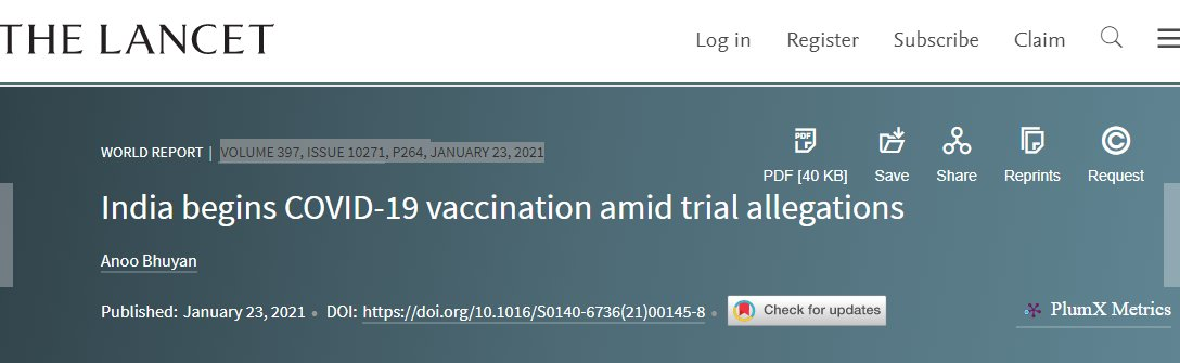 @Swamy39 India begins COVID-19 vaccination amid trial allegations (Lancet, Vol. 397, Issue 10271, P264, Jan 23, 2021) [Full Text]