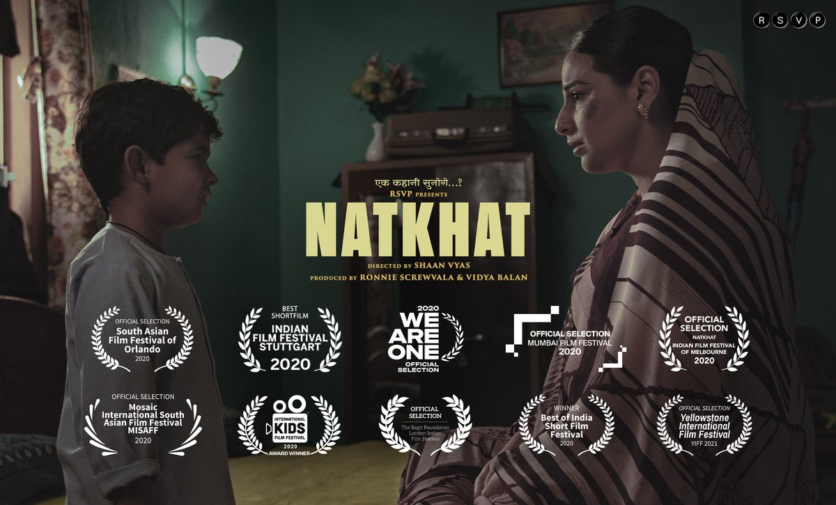Thrilled that our film #NATKHAT is in the RACE FOR THE #OSCARS2021 after a 2020 filled with prestigious international film festivals   @RonnieScrewvala @vidya_balan @SanayaIZohrabi @FontOfThinking @mesopystic