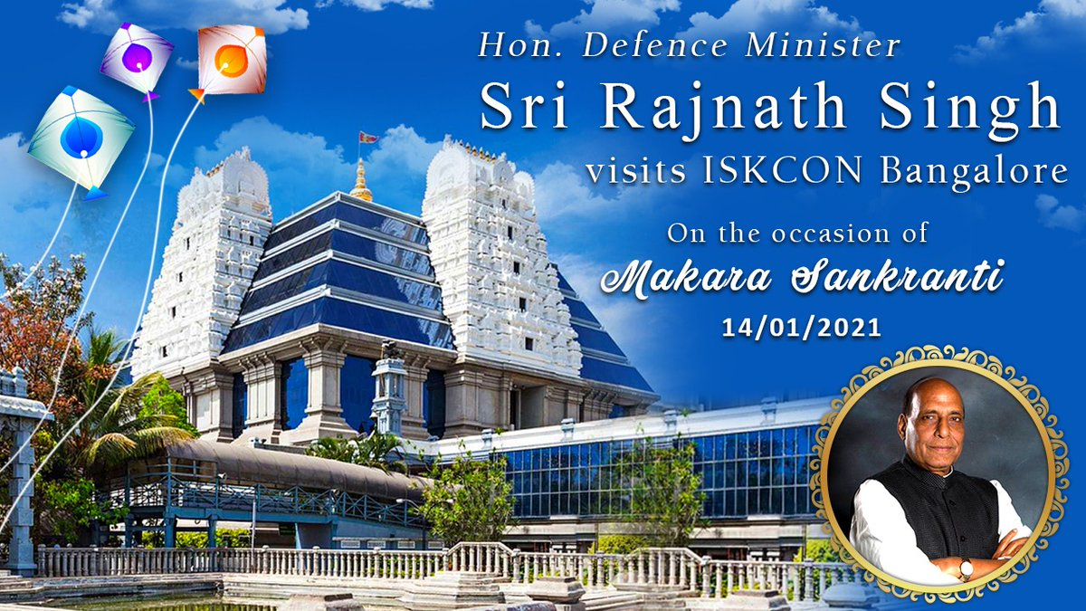 On #makarsankranti2021 Honorable @DefenceMinIndia Sri @rajnathsingh ji visited @ISKCONBangalore , paid respects to Lord #Krishna, #SrilaPrabhupada & received updates on @ChandrodayaVRN & visited @AkshayaPatra #kitchen at #harekrishna #hill