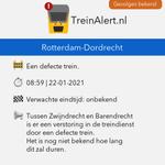 @TreinAlert - 🚨 Rotterdam-Dordrecht 🚧 Een defecte trein.  Tussen Zwijndrecht en Barendrecht is er een verstoring in de treindienst door een defecte trein. Het is nog niet bekend hoe lang dit zal duren.  #Treinleven #Rotterdam #Dordrecht https://t.co/lYUqeUKROQ