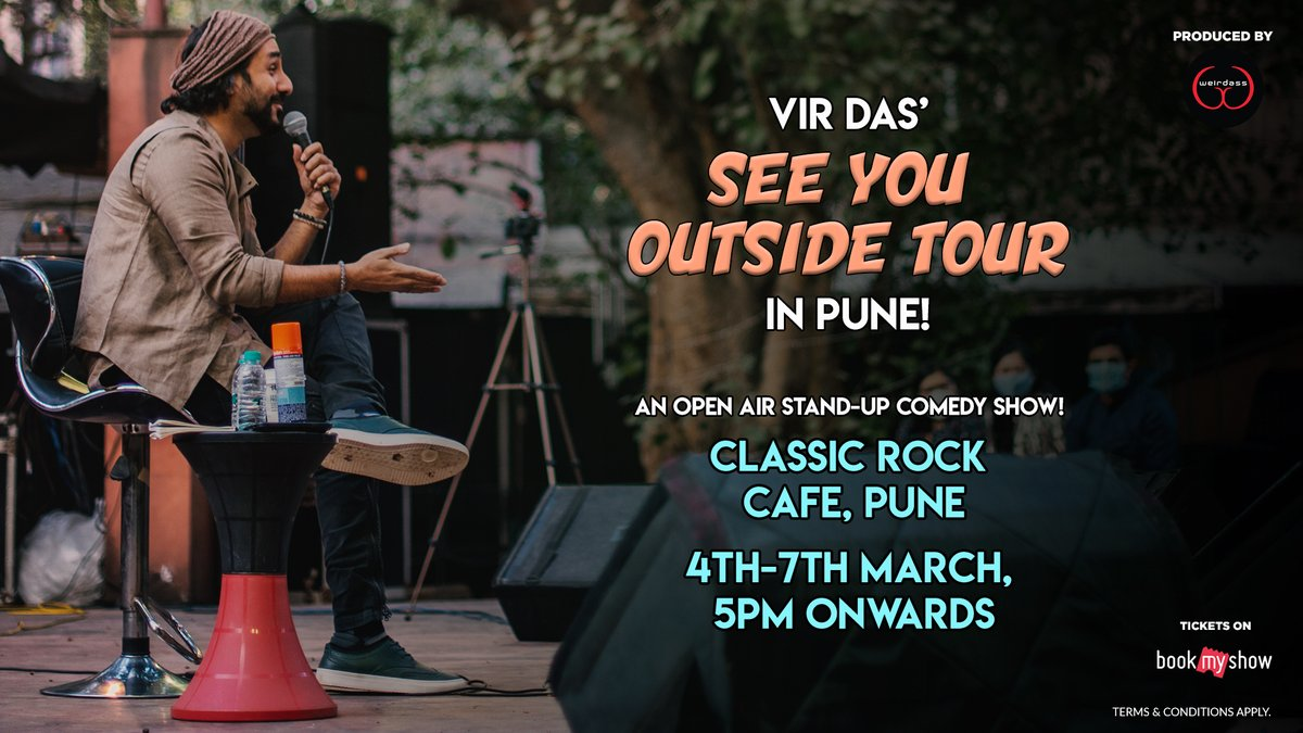 #Pune I'm bringing the #SeeYouOutside tour to you from March 4th - 7th. It's going to be an open air show. Tickets are LIVE get them here: