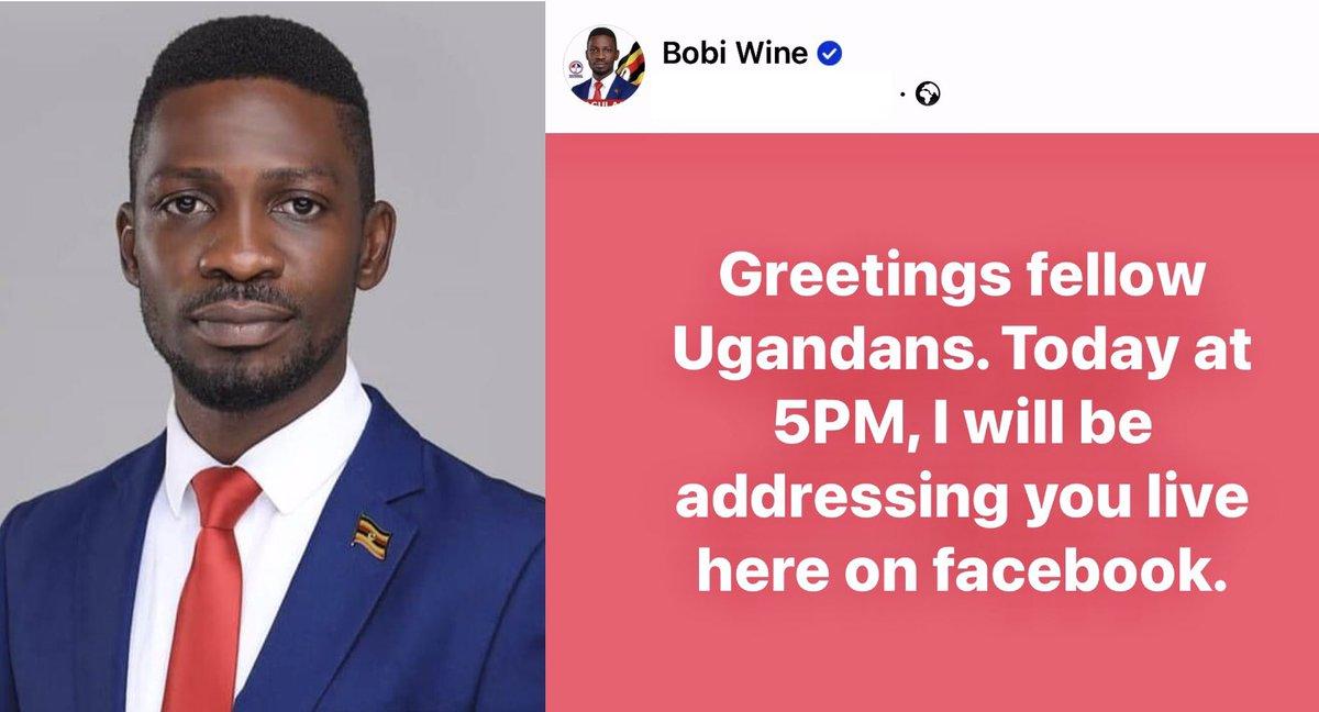 """""""Greetings fellow Ugandans. Today at 5PM, I will be addressing you live here on Facebook."""" ~@HEBobiwine  #WeAreRemovingADictator #Uganda  #UgandaElections ☂️🇺🇬🗳"""