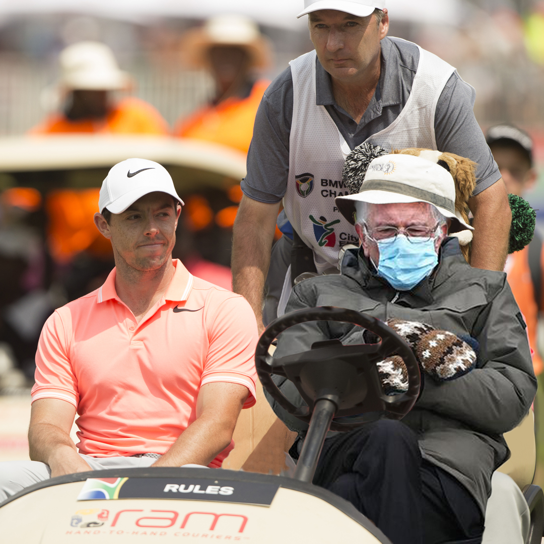 We thought we'd join in the fun.  Didn't realise Bernie Sanders was rules official when @McIlroyRory came to town in 2017, for the SA Open at @GlendowerGC.  #GreatnessBeginsHere #SunshineTour #golf #BernieSanders #Berniememes #berniememes2021 #FeelTheBern