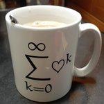 Image for the Tweet beginning: マグカップ届いてた!! 早速カフェオレ飲んでみました 大切に使わせていただきます! #数学ガール #スレッドお化け坊や