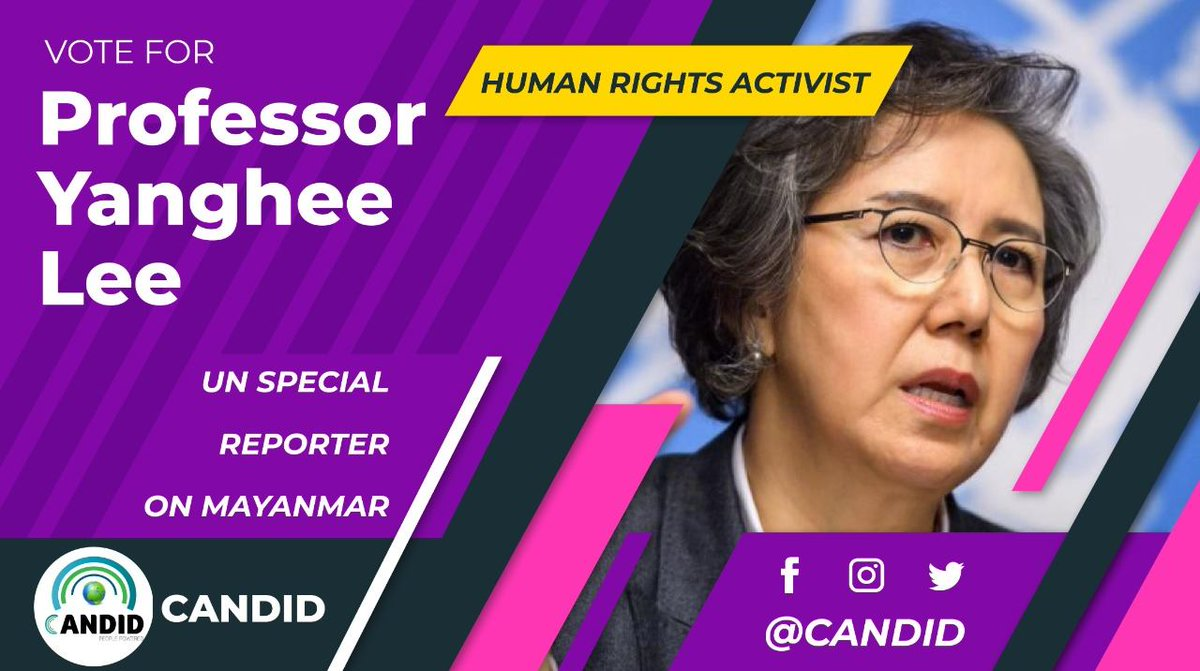@Marsad_En She has been shortlisted for the prestigious title 'Person of the Decade', while Prof Yanghee Lee also appears to be another main contestant for highlighting the issue of the Rohingyas. https://t.co/ScHiufwiPK