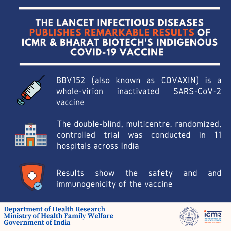 @Swamy39 The findings published in the reputed journal #Lancet show the safety and immunogenicity of the vaccine as seen in a double-blind, randomized trial. (ICMR, New Delhi)  Congrats, Bharat Biotech! 💐💐  Thanks Dr. @Swamy39 jee for your kind support!  Ref: