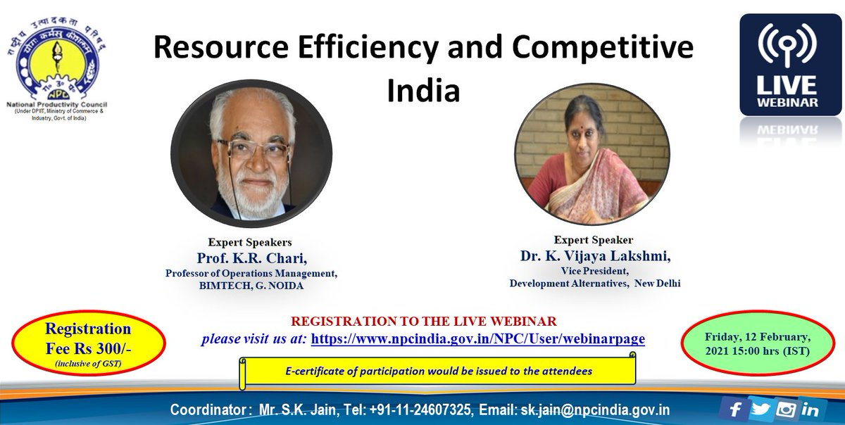 "Please join webinar on ""Resource Efficiency and Competitive India"" registration link:…  @NPC_INDIA_GOV @NPC_COE4IR @DIPPGOI @minmsme @msmetdcppdcagra #ministry_of_corporate_affairs  @MinOfJalShakti @FinMinIndia"