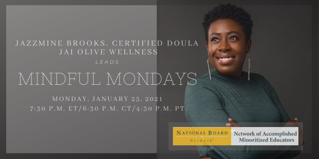 """""""Do not dwell in the past, do not dream of the future, concentrate the mind on the present moment."""" Buddha. Jazzmine Brooks, certified doula, @JaiOliveWellness leads biweekly mindfulness sessions beginning Monday, January 25th until June 21st for all women educators. #wellness"""