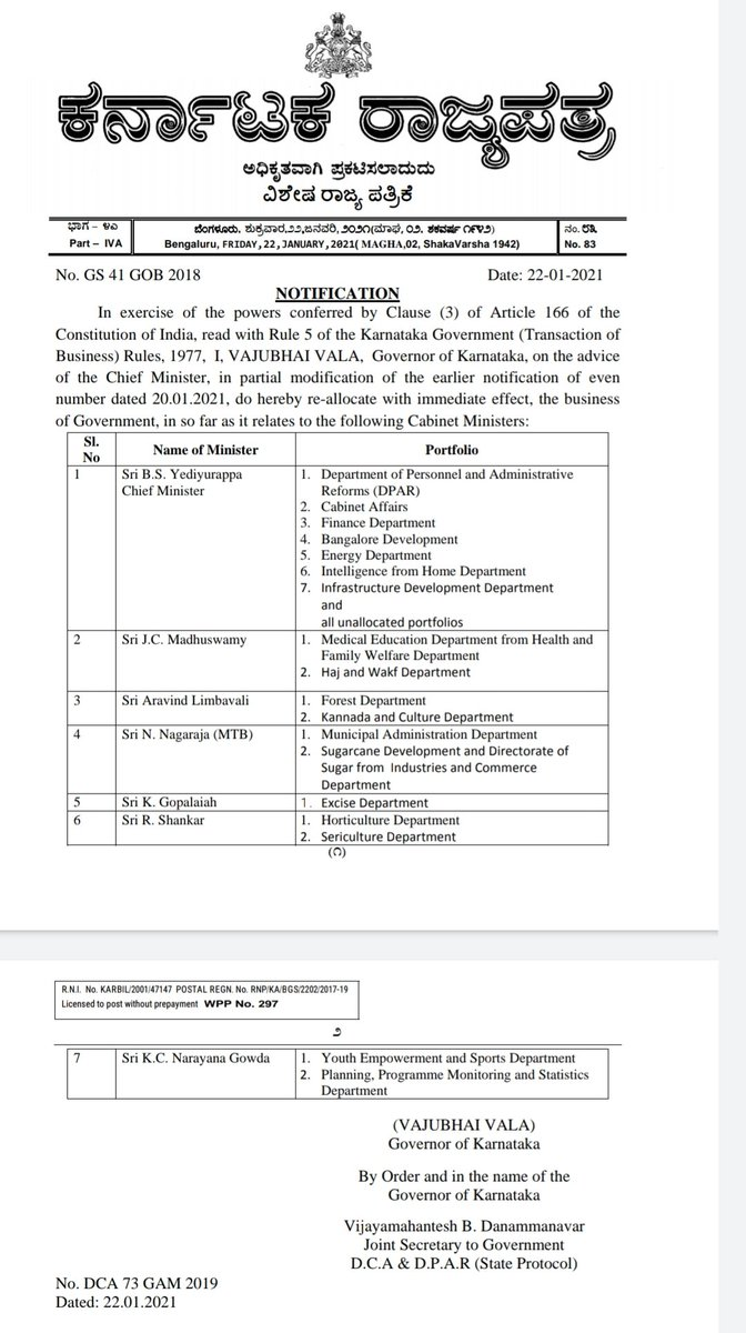 A day after portfolio allocation, @CMofKarnataka makes minor changes in portfolio allocation again. @ArvindLBJP also gets Kannada and Culture, Gopaliah gets Excise, MTB gets Muncipal administration & R Shankar gets horticulture & sericulture  @NewIndianXpress @santwana99