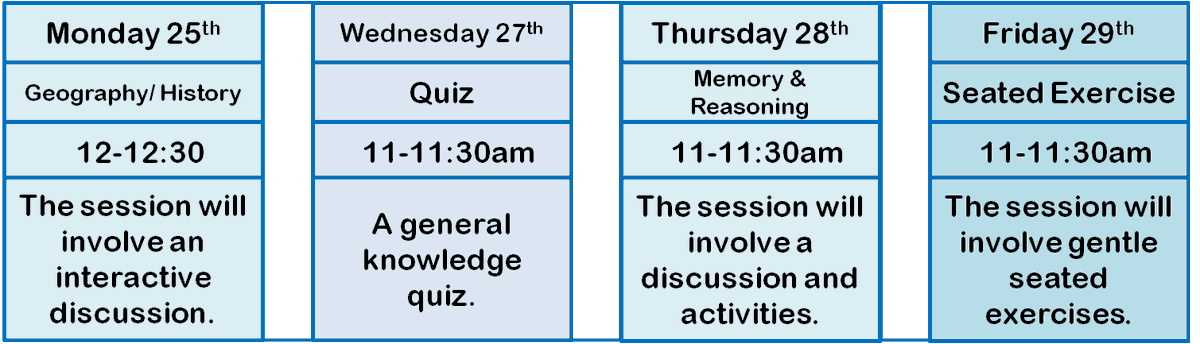 What #Zoom session will you be joining!? Discuss geography and history on #Monday, test yourself with our weekly #quiz on #Wednesday, work on your memory and reasoning skills on #Thursday and finish the week with a #workout in our #Friday seated exercise session!  #SeeYouThere