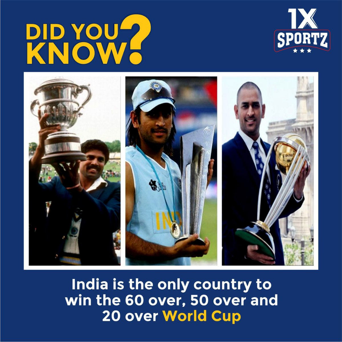 DID YOU KNOW ? India is the only country to win the 60 over, 50 over and 20 over World Cup  #didyouknow #1xsportz #IndianCricketTeam #TeamIndia #BackTheBlue #BleedBlue #IPLRetention #IPL2021 #IPL #IPL2021Auction
