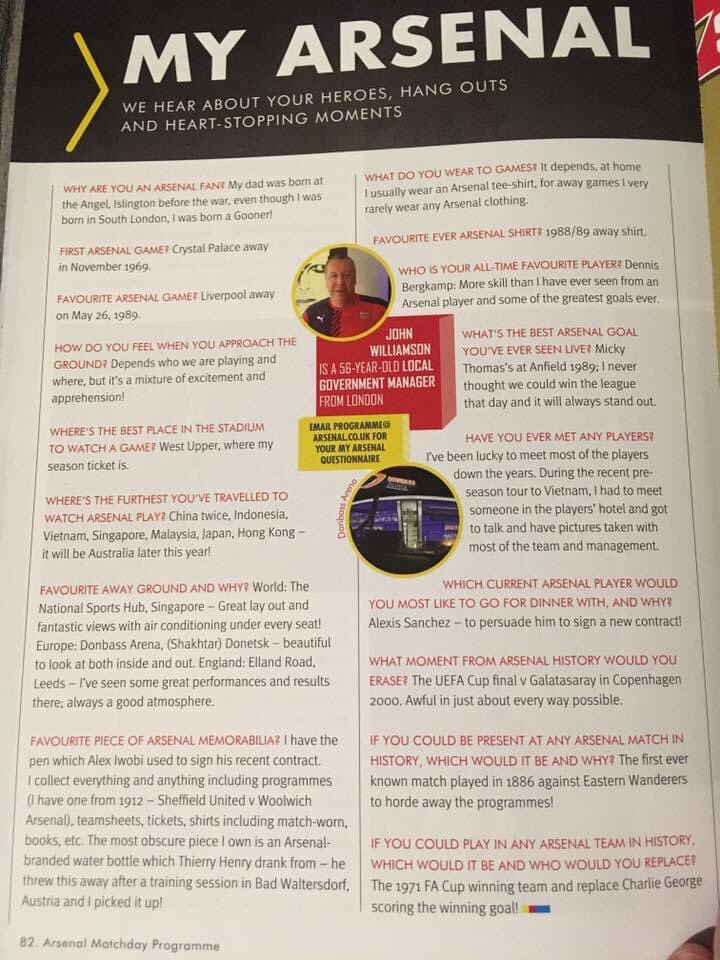 Here's something written about me in the Arsenal programme from a few years back, even then I was saying Alexi Sanchez was the man we should have kept!