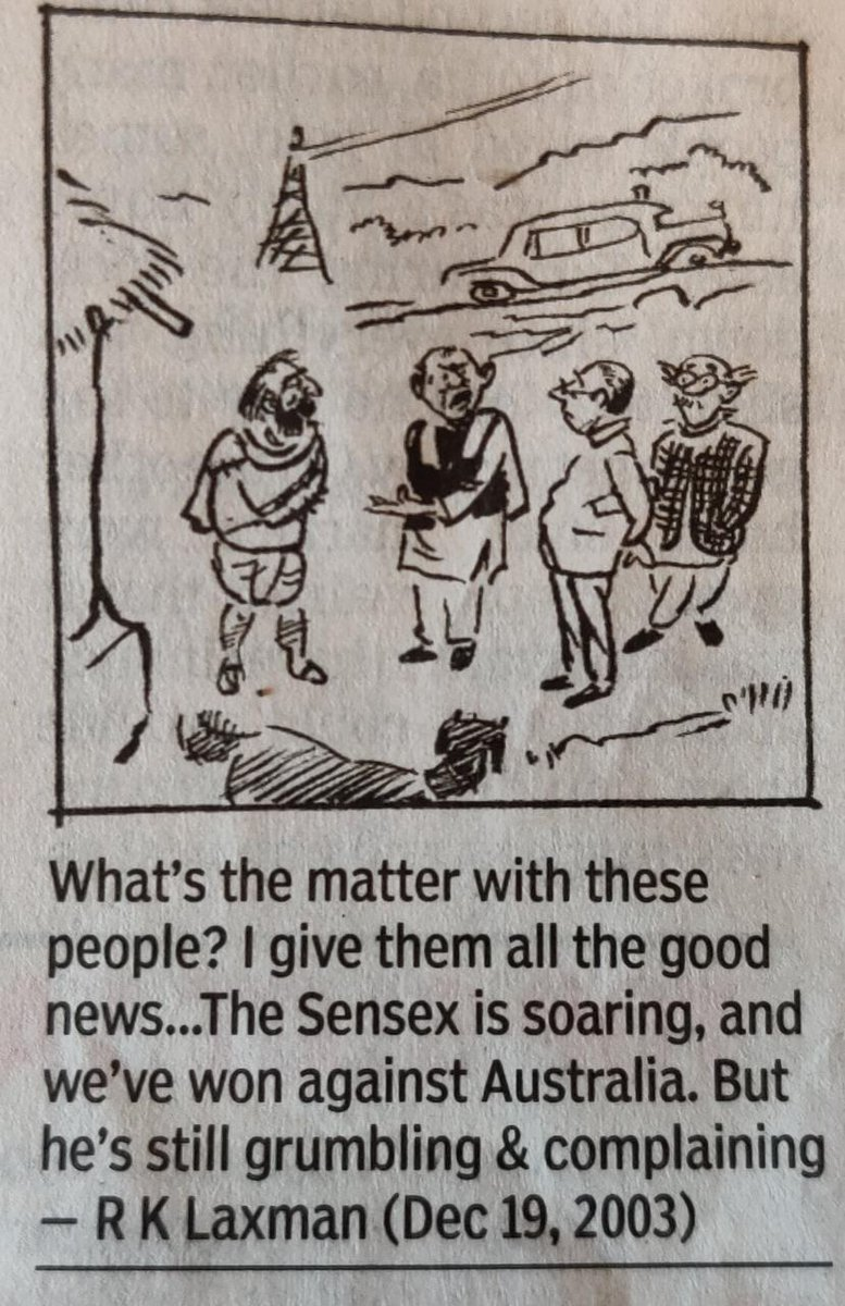 RK laxman truly a visionary...#cartoon #sensex #IndiaWins #INDvAUS