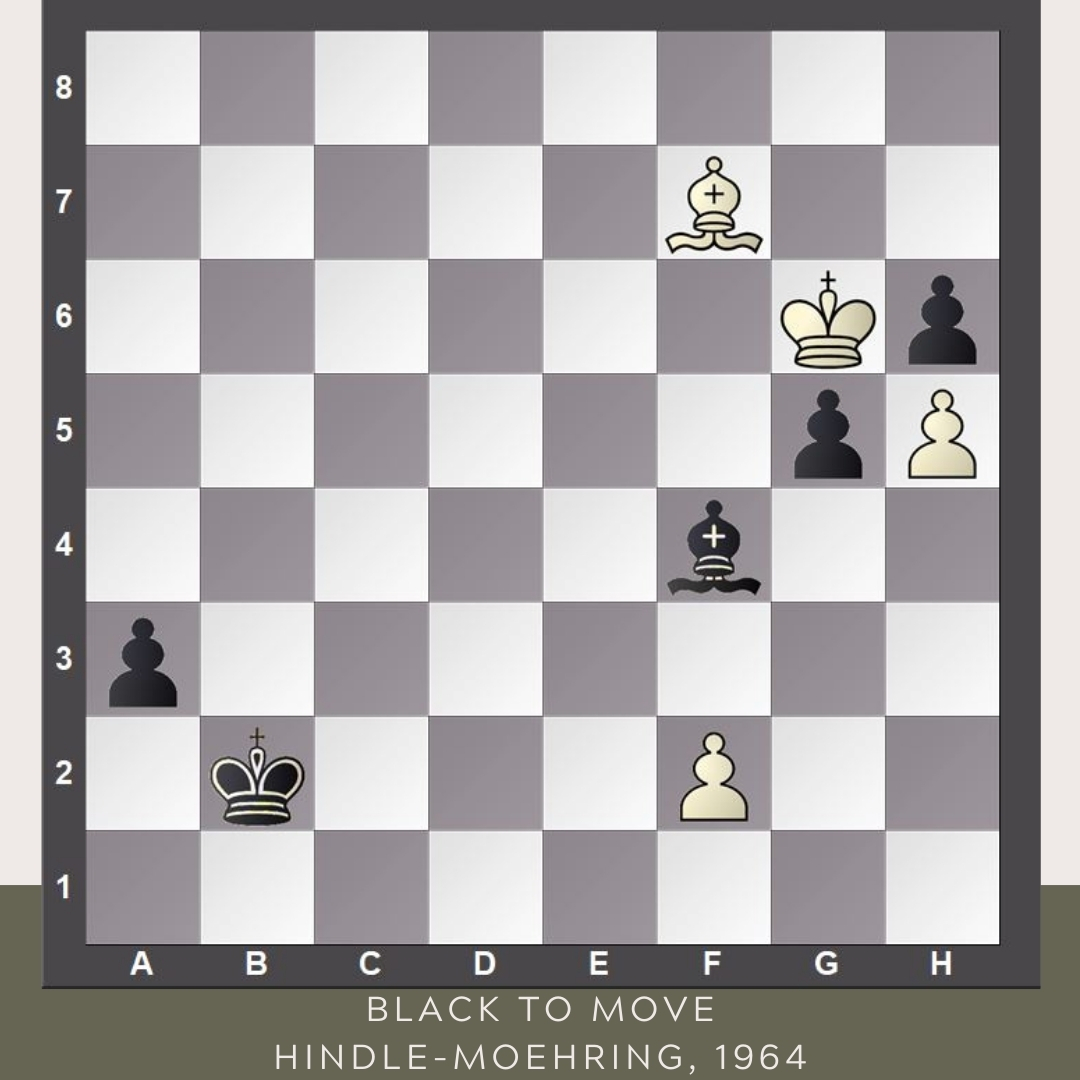 test Twitter Media - Today's #FridayStudy is not exactly a study, as this gem comes from a real game, but it is even more impressive.   The game was played between Owen Hindle (England) and Guenther Moehring (DDR) during the 1964 Tel Aviv Olympiad. Black to move and win. #YourMove https://t.co/Hcp9F0HNSe