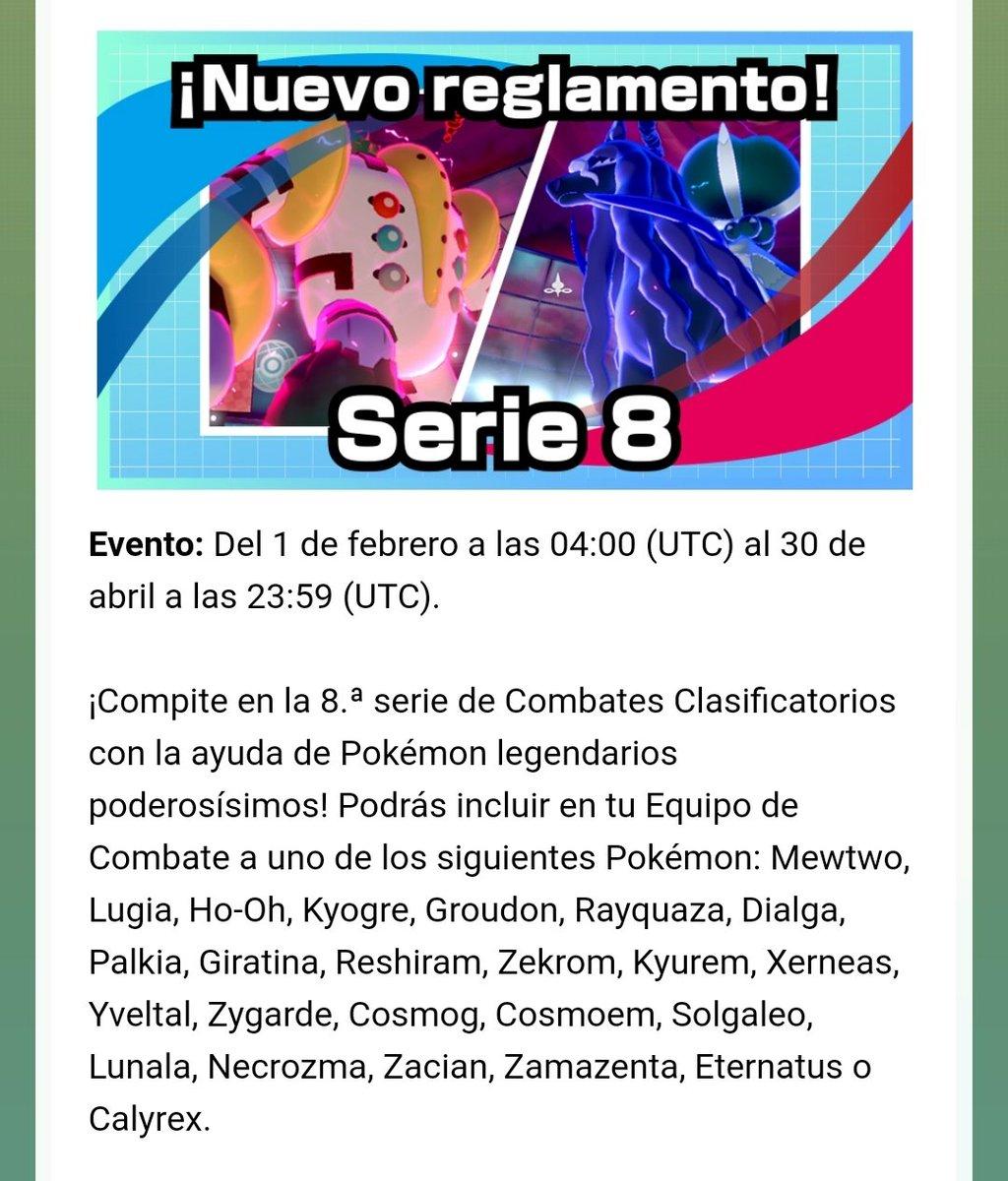Las reglas de la Serie 8 de Combates Clasificatorios de Pokémon Espada y Escudo han sido reveladas:  📅 1 de febrero a 30 de abril ➡️ Se puede usar 1 Pokémon Legendario restringido en el equipo. ➡️ Ver imágenes.  ➡️ Más información: