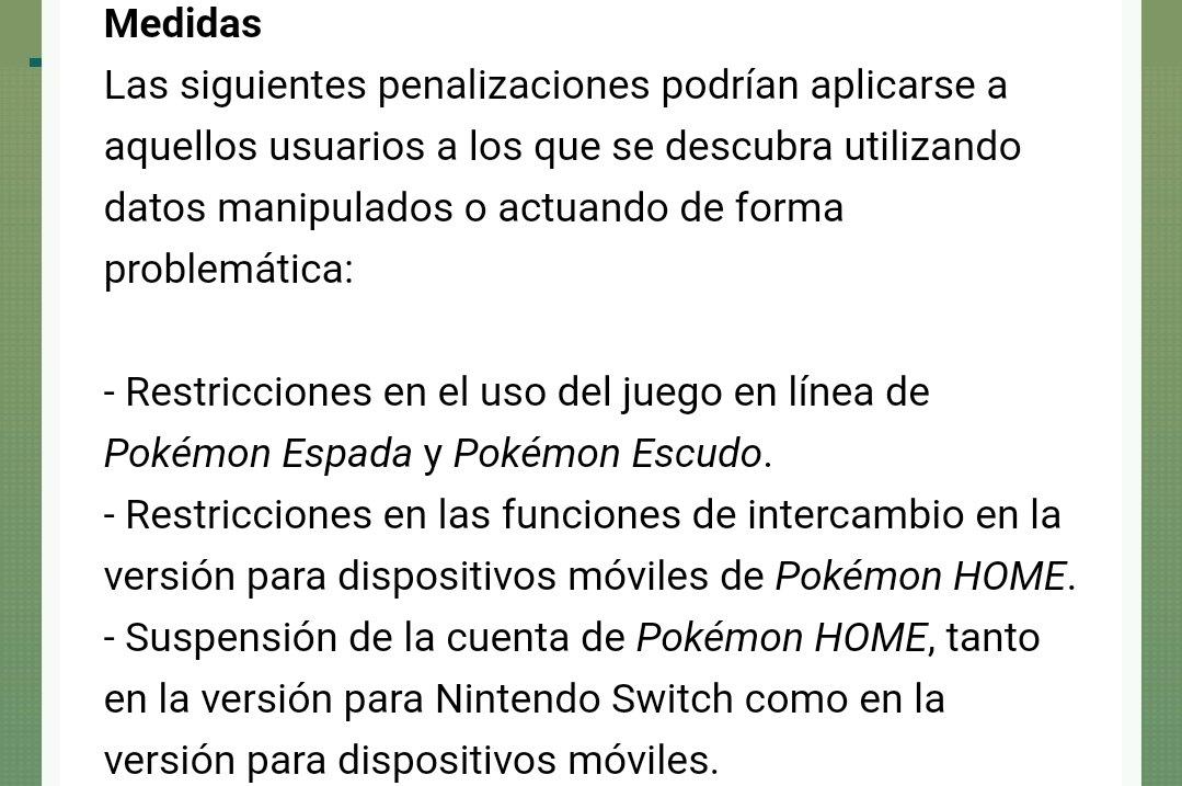 TPCi ha anunciado medidas contra el uso de Pokémon alterados en Pokémon Espada y Escudo:  ➡️ Restricciones en el uso del juego en línea de Pokémon Espada y Pokémon Escudo ➡️ Restricciones en las funciones de intercambio de Pokémon HOME ➡️ Suspensión de la cuenta de Pokémon HOME
