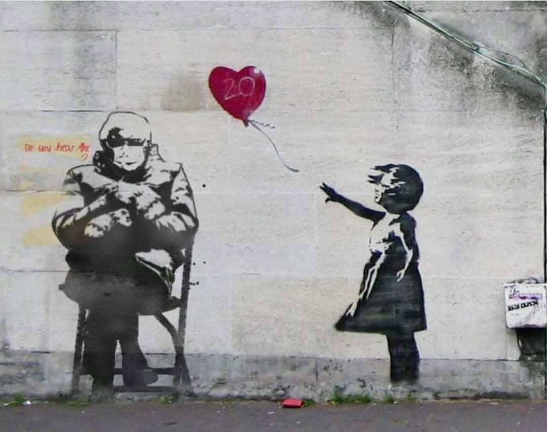 Someone Banksy'd Bernie.  #BernieSandersMittens  #BerniesMittens  #BernieMemes  #MedicareForAll
