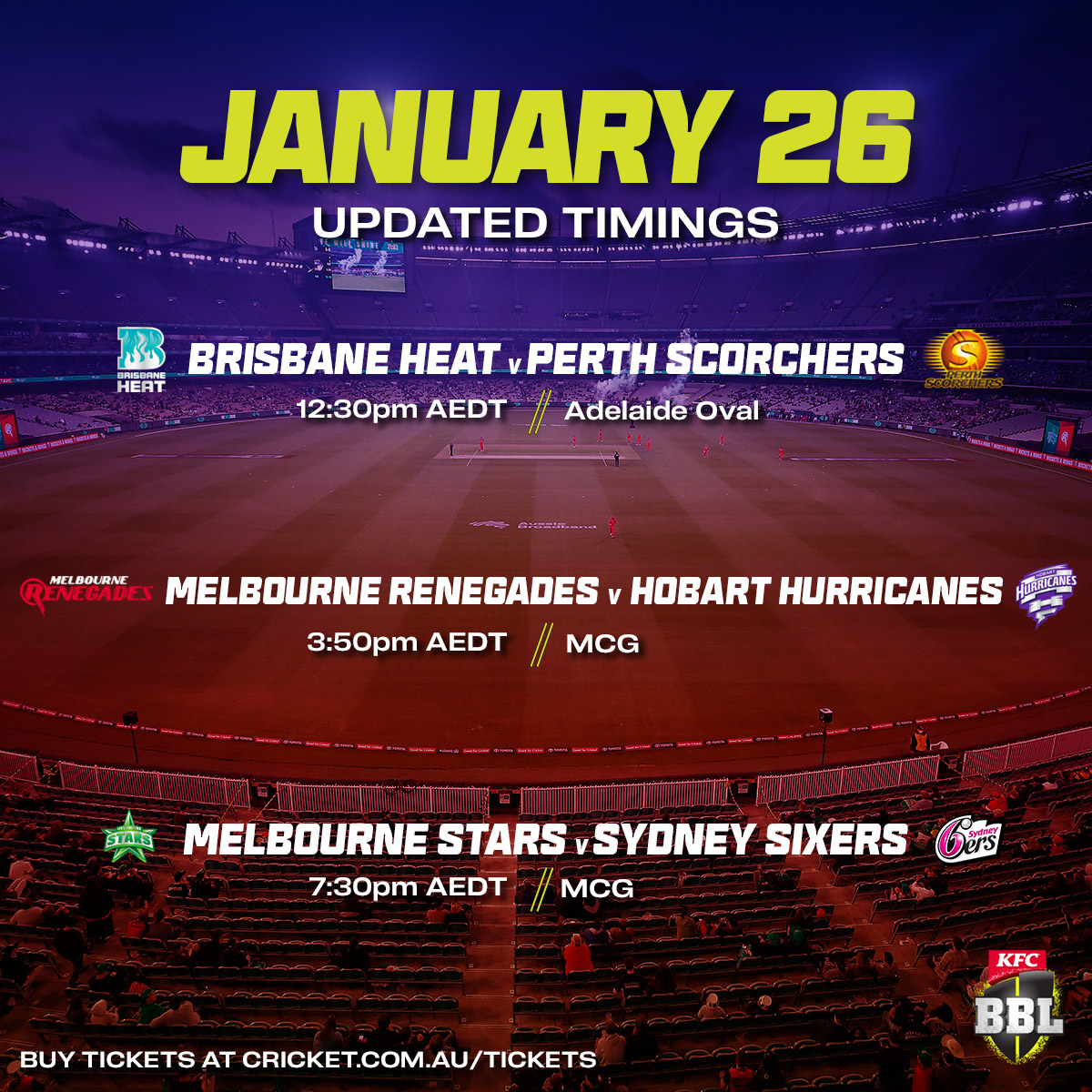 🗣️ FYI, we've made some slight adjustments to the timings of the final day of the regular season.  You can still grab tickets at  #BBL10