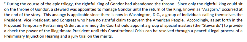 Guys, an actual filing in federal court is asking for the court to establish the Stewardship of Gondor in the absence of Aragorn. No, I'm not joking. https://t.co/D9em1lydsD h.t @questauthority https://t.co/u0WJgdowUe