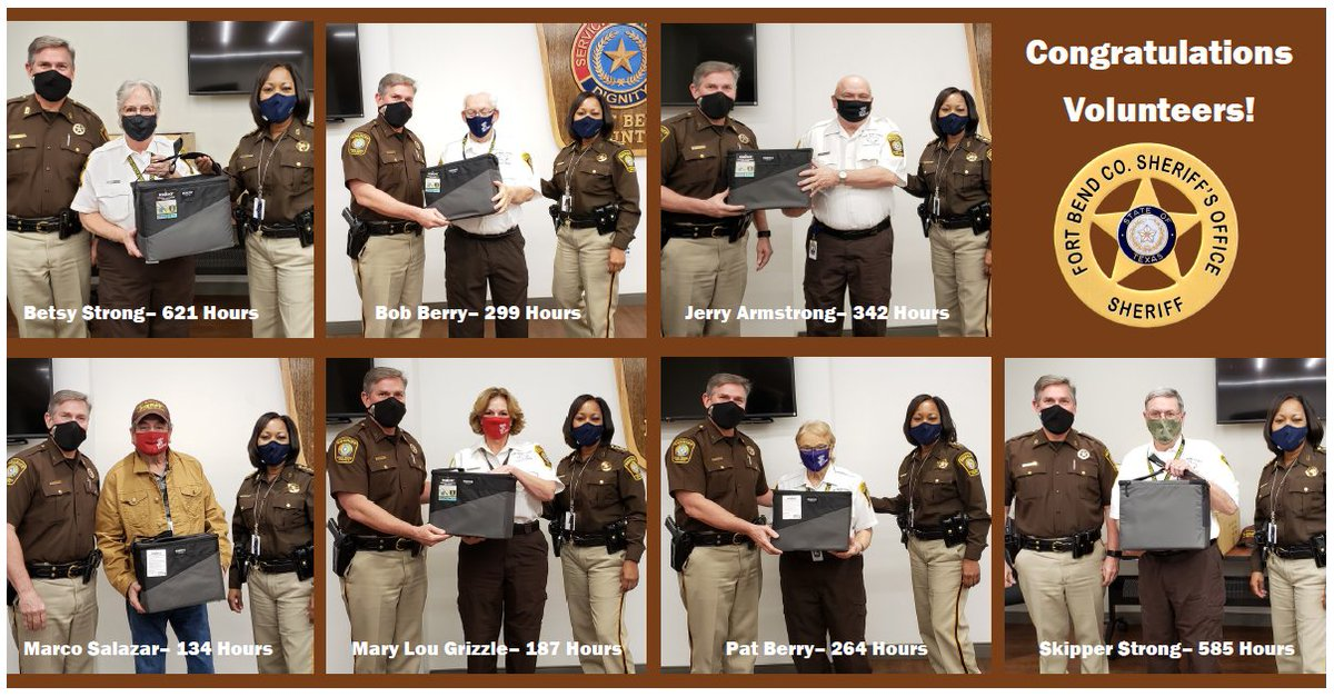We congratulate our exceptional YANA volunteers for logging impressive number of hours this past year. As a token of appreciation, Chief Provost and Lieutenant Burger gave each a special gift.  *Not pictured: Mike Meador- 413 hours and Juan Morales- 188 hours #thankyou #fbcso