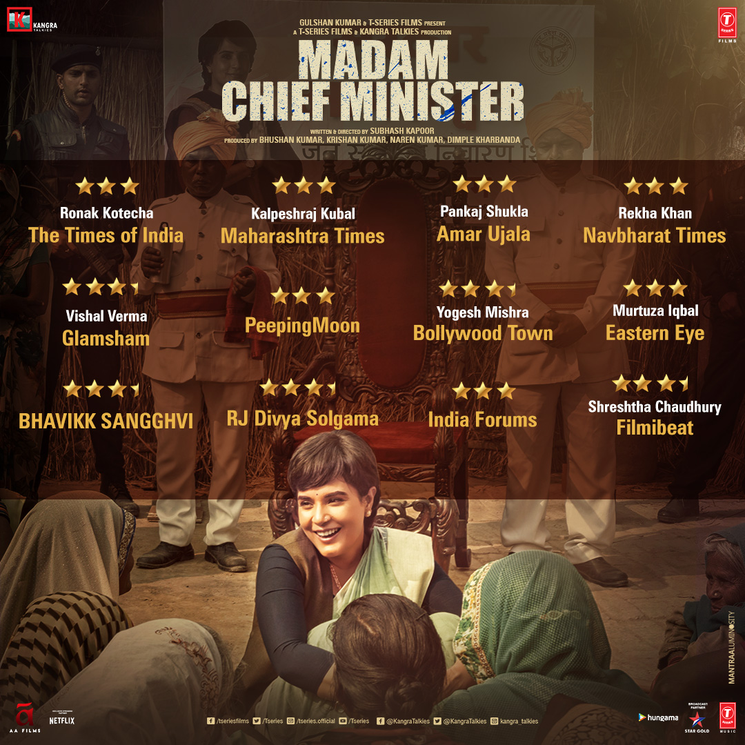 Thanks for all the love! Reviews for #MadamChiefMinister are in. Have you watched the movie yet? If not, then book your tickets now! Movie out now in cinemas near you:  Book your tickets now:  @saurabhshukla_s #ManavKaul @TSeries #BhushanKumar