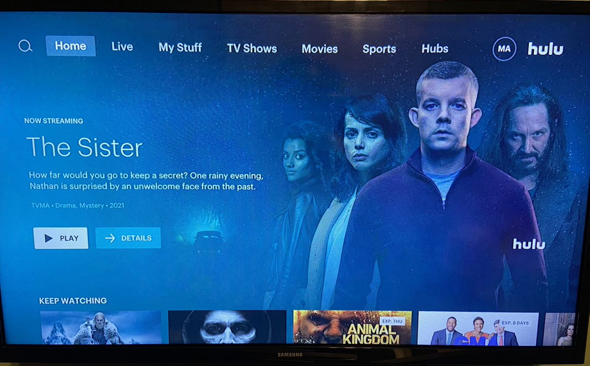 Waking up to this Awesome surprise! #TheSister popped up on Hulu USA. Huge fan of @russelltovey .. love everything he does 📺