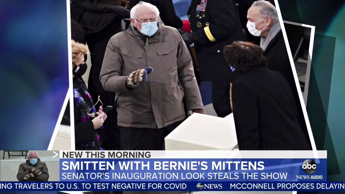 """The world is smitten with Sen. Bernie Sanders' mittens from the inauguration!  Vermont teacher Jen Ellis handmade the eco-friendly mitten and gave to the senator 5 years ago. She tells @tjholmes she is """"flattered"""" her gift has gone viral."""