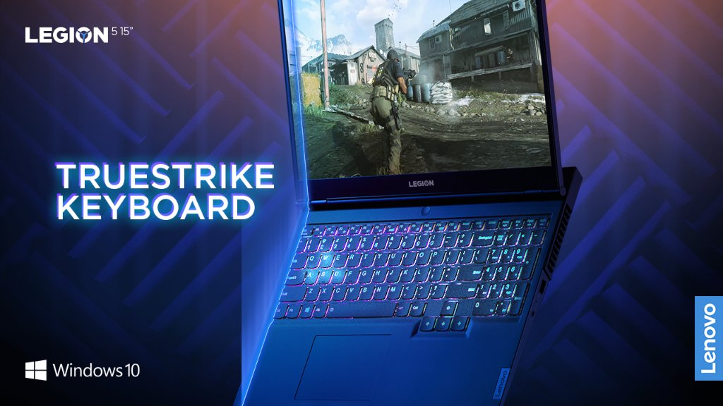 The Legion 5's TrueStrike keyboard features soft landing switches, dedicated media keys, number pad, larger arrow keys, and a one piece trackpad.  Available with optional 4 Zone RGB. @windows 10 unlocks the full potential of your system's hardware.