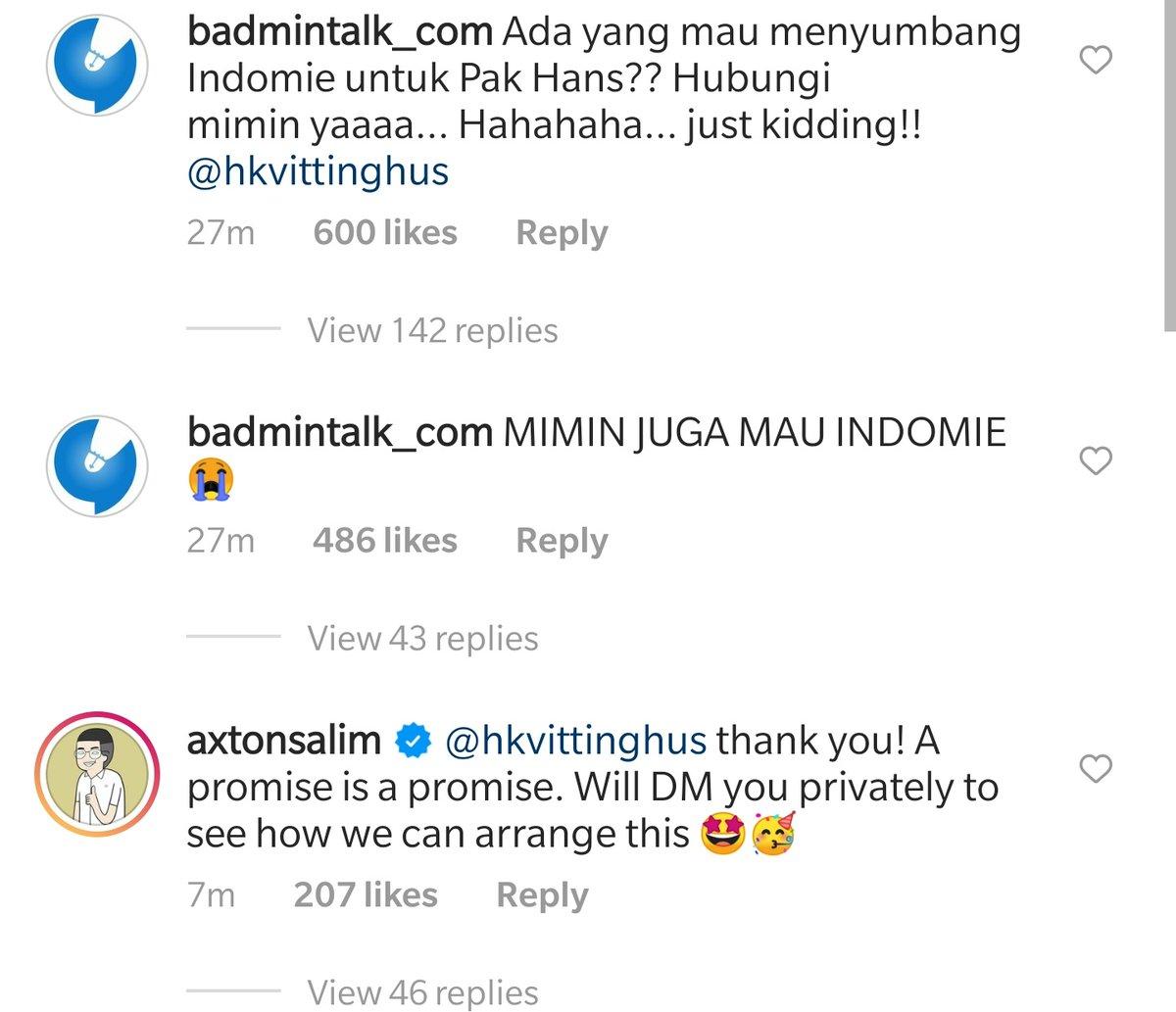 """Direktur PT Indofood turun tangan. """"A promise is a promise""""  Hari ini Waroeng Steak ama Indomie stonk nih hahaha  #ToyotaThailandOpen"""