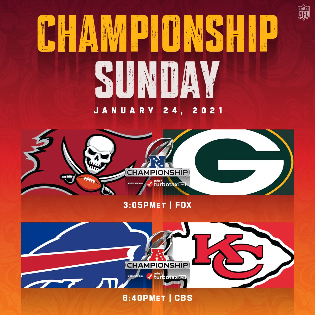One day closer to Championship Sunday! 😁🏈  📺: #TBvsGB -- Sunday 3:05pm ET on FOX 📺: #BUFvsKC -- Sunday 6:40pm ET on CBS 📱: NFL app // Yahoo Sports app