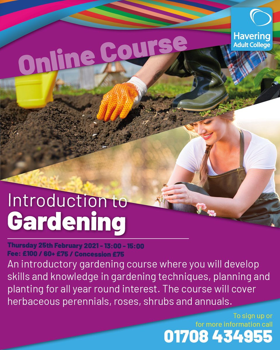 An introductory gardening course where you will develop skills and knowledge in gardening techniques, planning and planting for all year round interest.  Call 01708 434955 to enrol  #garden #plants #flowers #herbs #gardenlife #nature #gardenlove #havering #nevertoolate #beginners