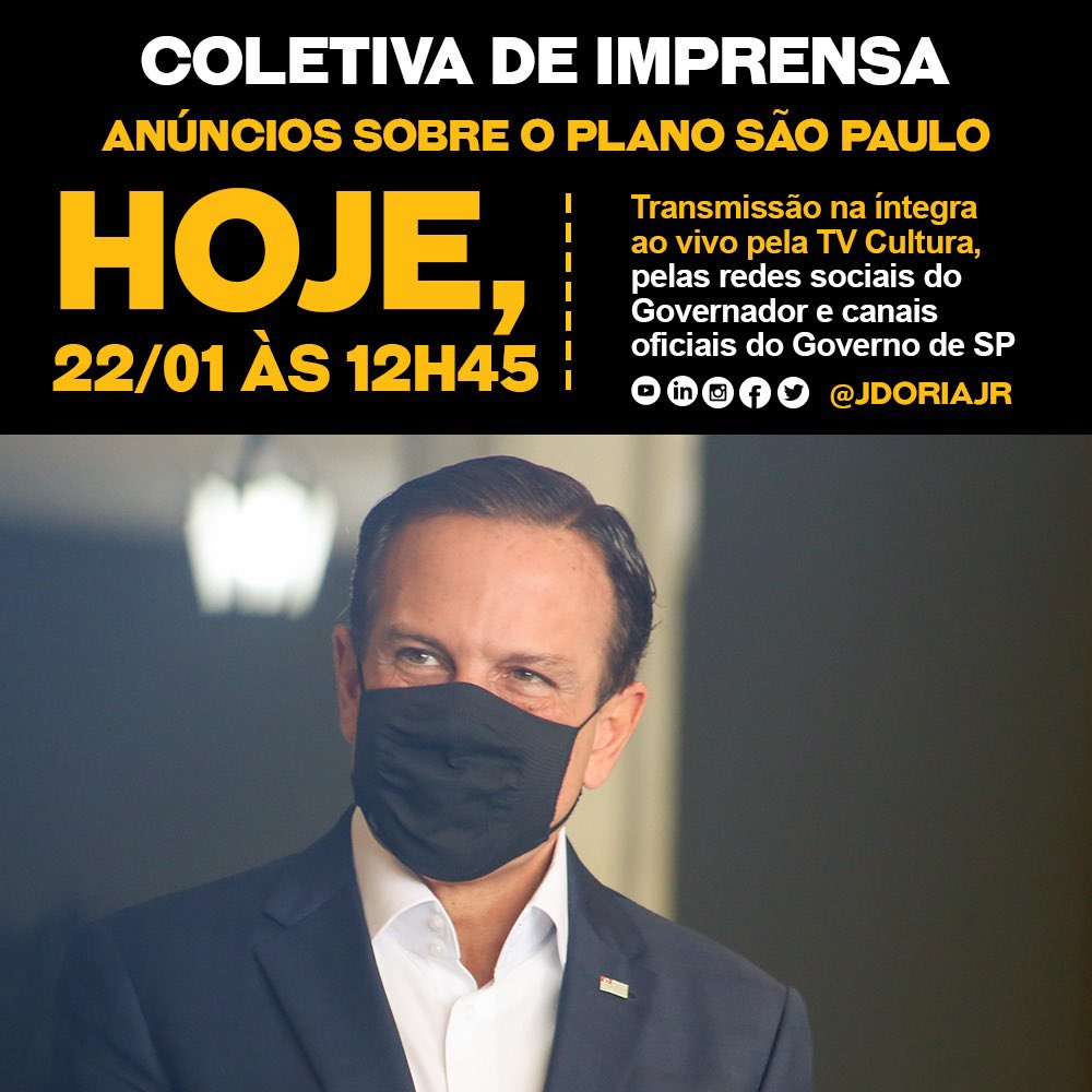 Acompanhe nossa coletiva de imprensa hoje, a partir das 12H45, com informações importantes sobre o combate à Covid-19 no Estado de SP. #Transparência #GovernoSP