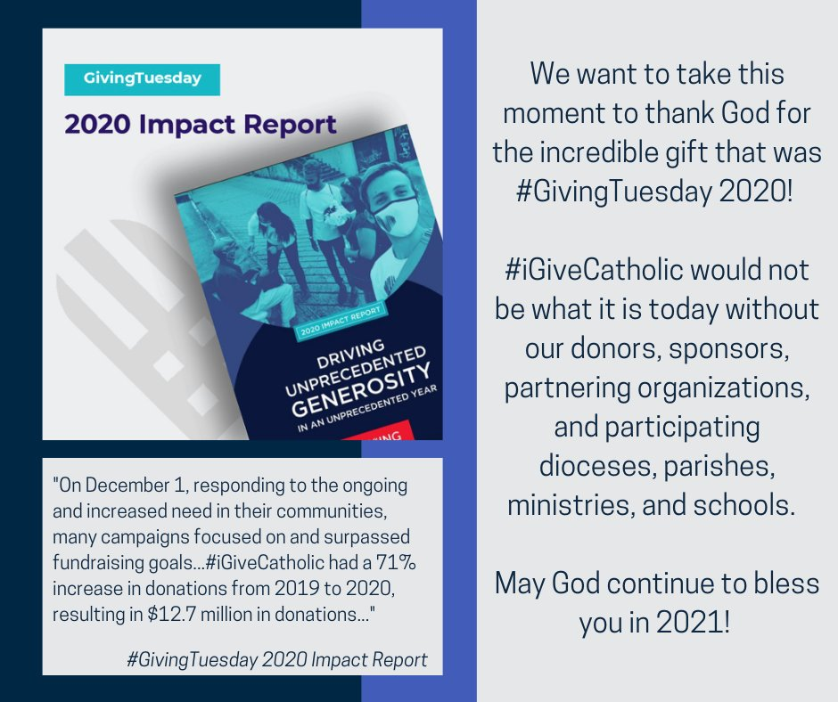 $12.7 million in donations and a 71% increase in donations from 2019 to 2020!  That is what #iGiveCatholic was able to accomplish on #GivingTuesday 2020!  We are so incredibly grateful!