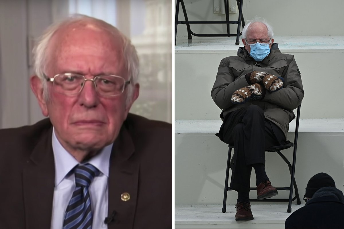 """I was just sitting there trying to keep warm."" Bernie Sanders reacted to becoming a viral meme on #LNSM:"