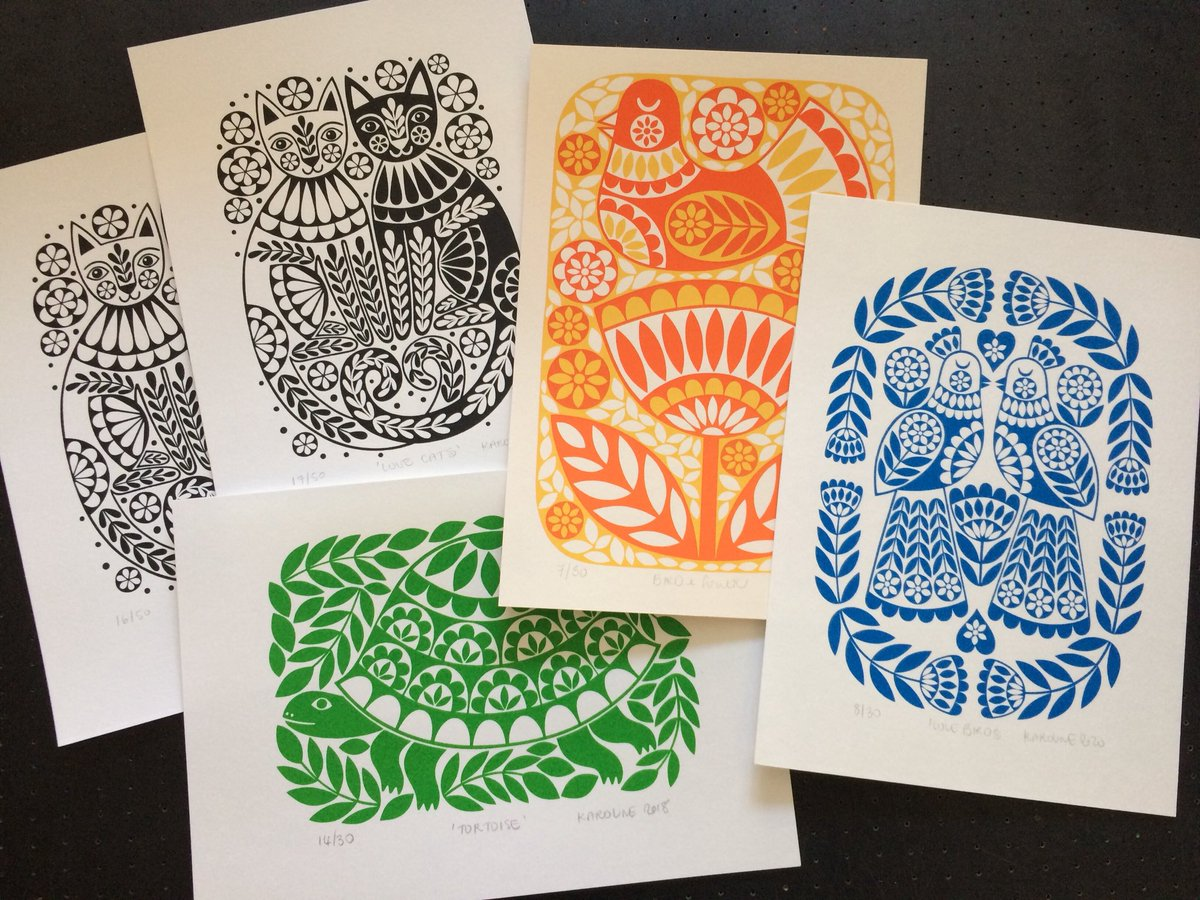 Packing a few more colourful #limitededition #screenprints to send to Colour & Space in #Cornwall. There's #lovecats & #lovebirds ready for #valentinesday. Also a #tortoise for #tortoiselovers & a pretty bird & flower because today it feels like Spring is on it's way.