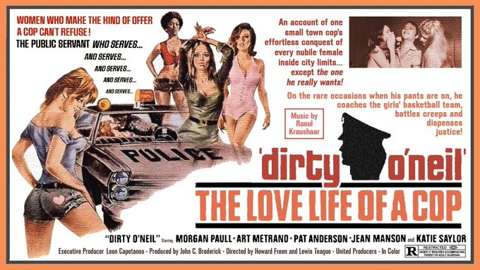 The Cinema Snob's review of the 1974 exploitation flick Dirty O'Neil is up now on Patreon for early viewing