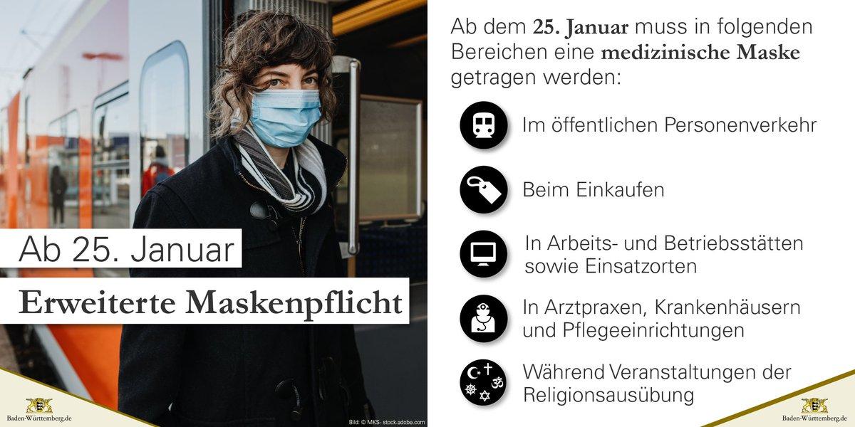 """Ab dem 25. Januar gilt in #BadenWürttemberg eine erweiterte #Maskenpflicht. Nach dieser muss in bestimmten Bereichen eine medizinische Maske (""""OP-Maske"""") oder eine Atemschutzmaske (#FFP2/#KN95/#N95) getragen werden.  #CoronaBW #CoronaVirusDE"""