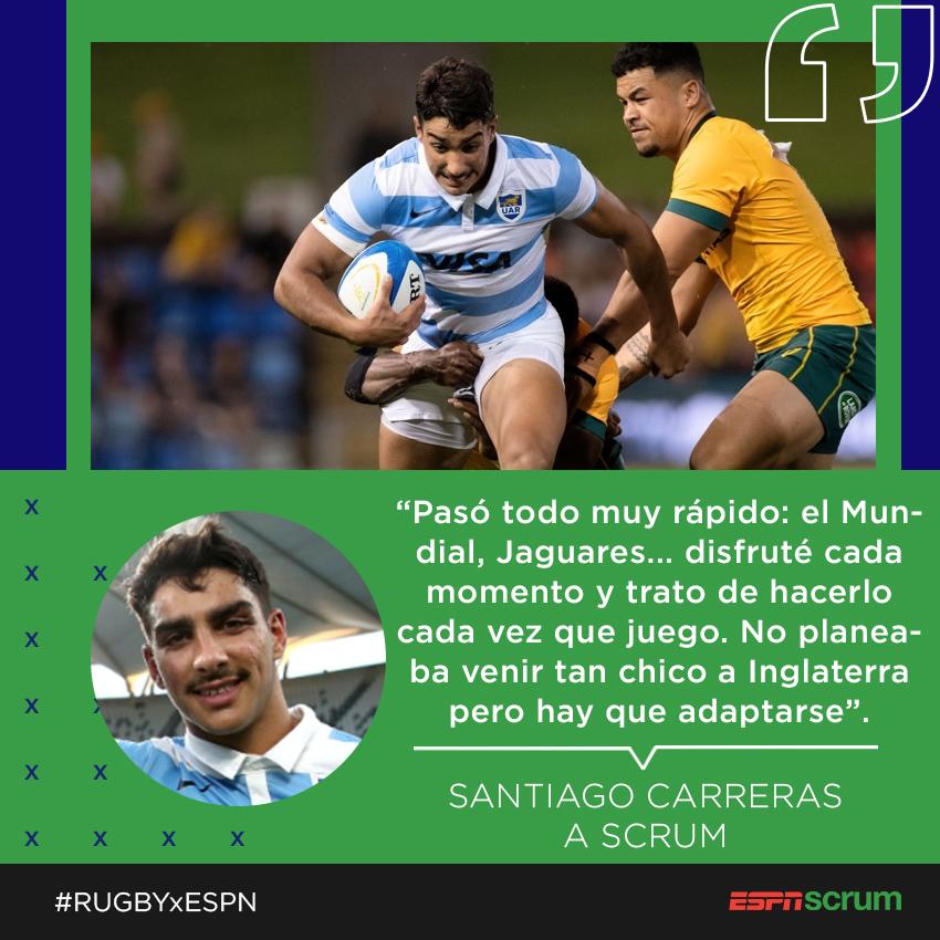 Santiago #Carreras charló en exclusiva con #Scrum sobre su presente en @gloucesterrugby, cómo llegó al equipo inglés y mucho más. A los 22 años, ya pasó por el #SuperRugby y tiene un Mundial en el lomo. ⚡🇦🇷  #RUGBYxESPN https://t.co/mVGMRFgmAD