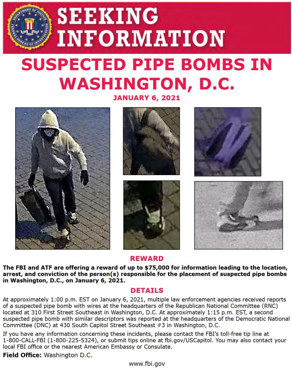 #ICYMI: @ATFWashington and #FBIWFO increased the reward to up to $75,000 for information about the person(s) responsible for placing suspected pipe bombs in Washington, D.C., on January 6. Call 1-800-CALL-FBI with info or submit to https://t.co/NNj84wkNJP. https://t.co/946jU0n3qJ https://t.co/qcVYhqLmdL