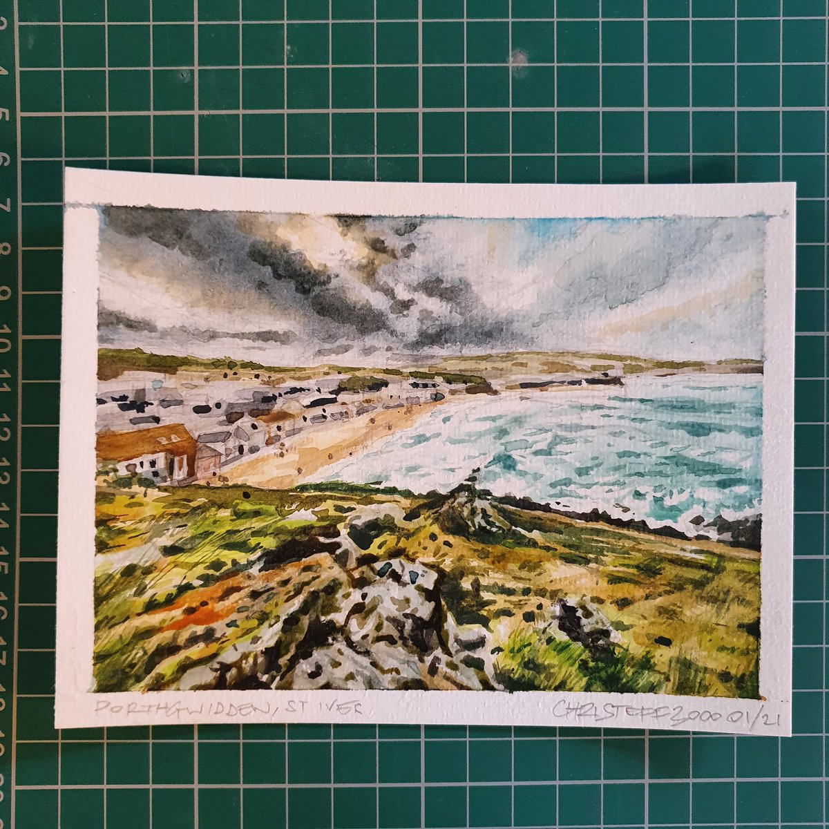 Just popped my postcard #Watercolourpainting of St Ives, #Cornwall in the post for this yr's @twitrartexhibit - fare ye well in the mail!