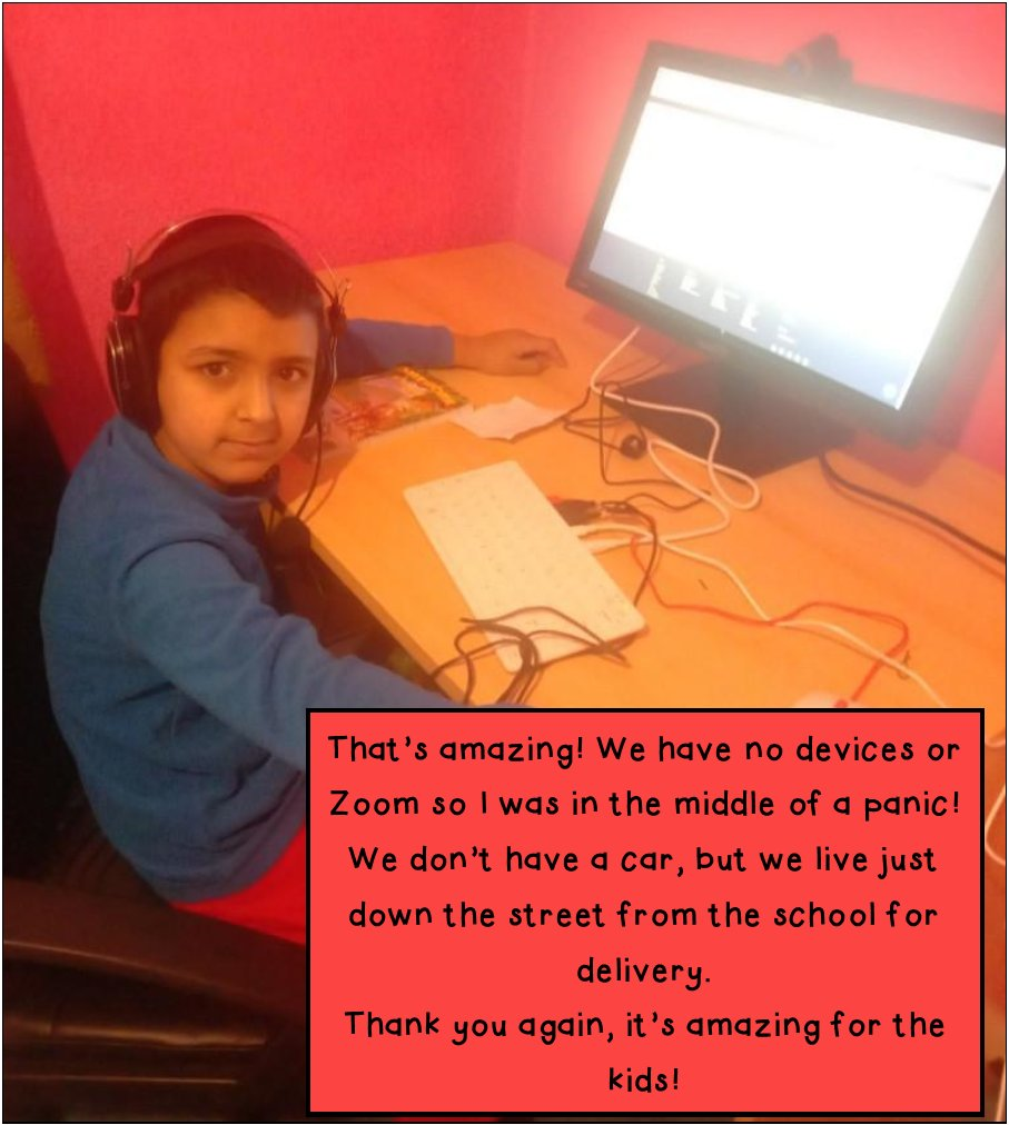 Panic set in for some of our parents when they heard their children would have to access learning from home. What would they do without any devices? Thankfully, it was @BloomfieldTrust and @Raspberry_Pi  to the rescue! @equinns @martinhellawell #goodtobegillas #thankyou