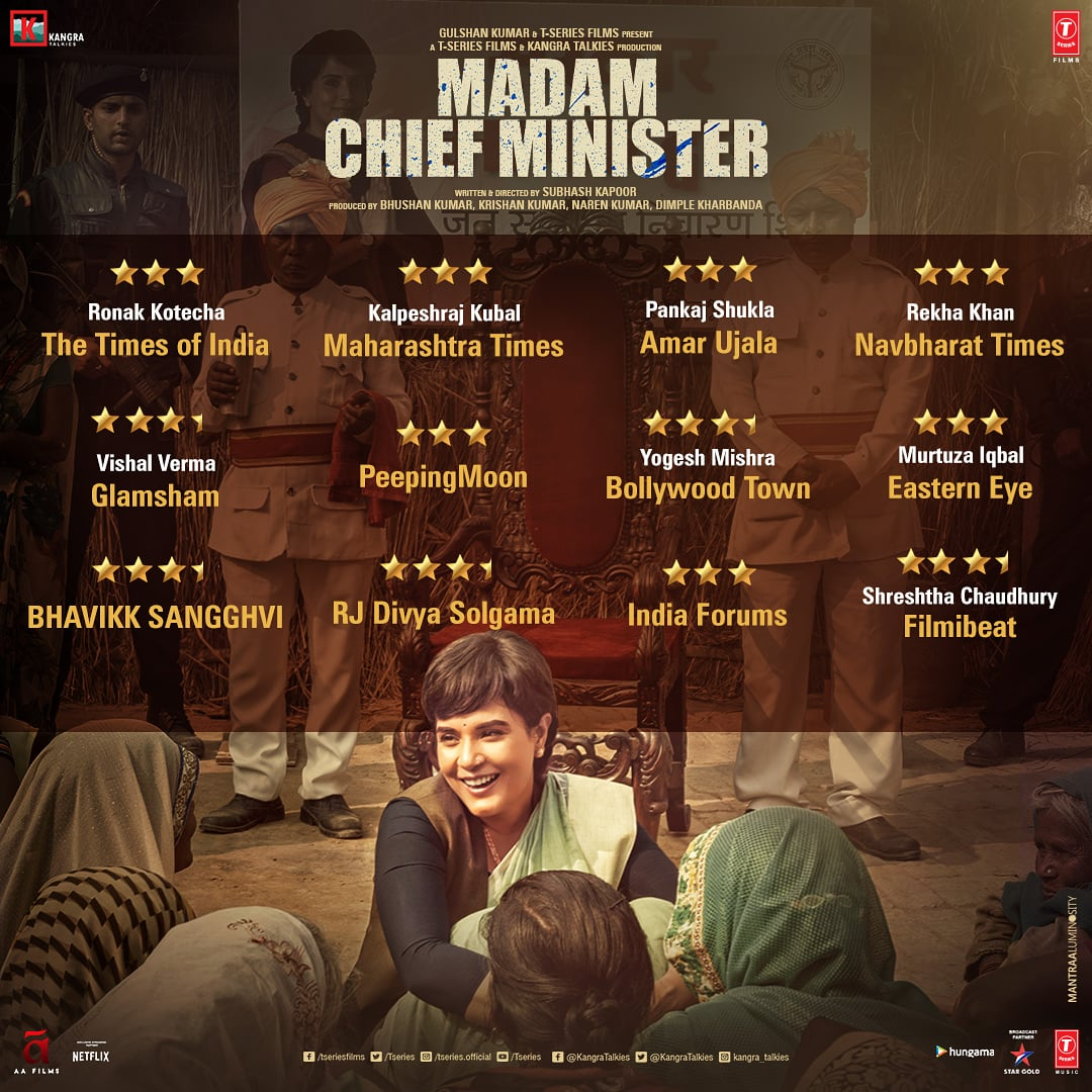 Thanks for all the love! Reviews for #MadamChiefMinister are in. Have you watched the movie yet? If not, then book your tickets now! Movie out now in cinemas near you:  Book your tickets now:  @RichaChadha @saurabhshukla_s #ManavKaul @TSeries #BhushanKumar